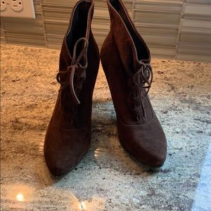 Calvin Klein suede lace up booties